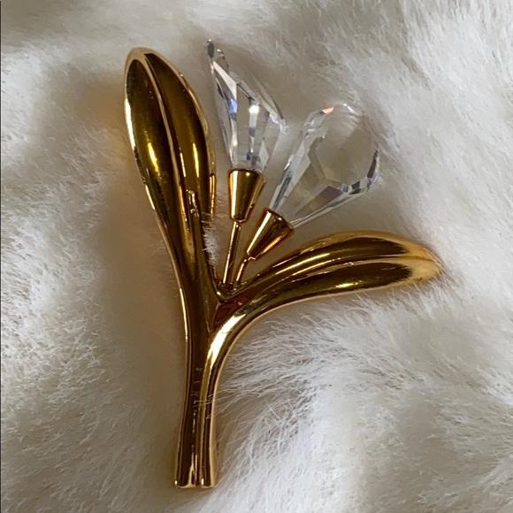 Swarovski Calla lily goldtone brooch